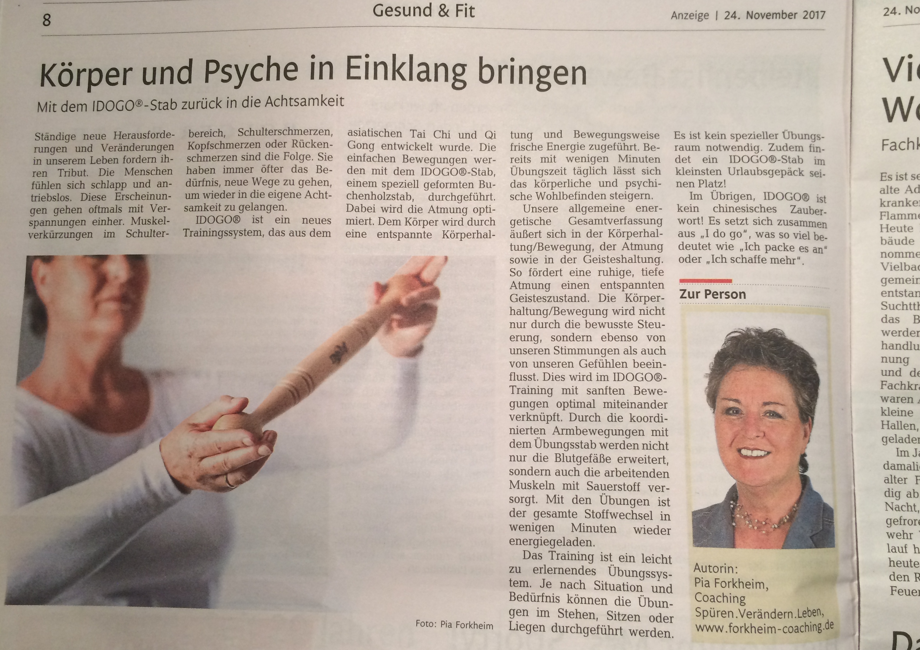 Pia Forkheim erzählt in der Westerwälder Rhein Zeitung über das Idogo-Stab Training