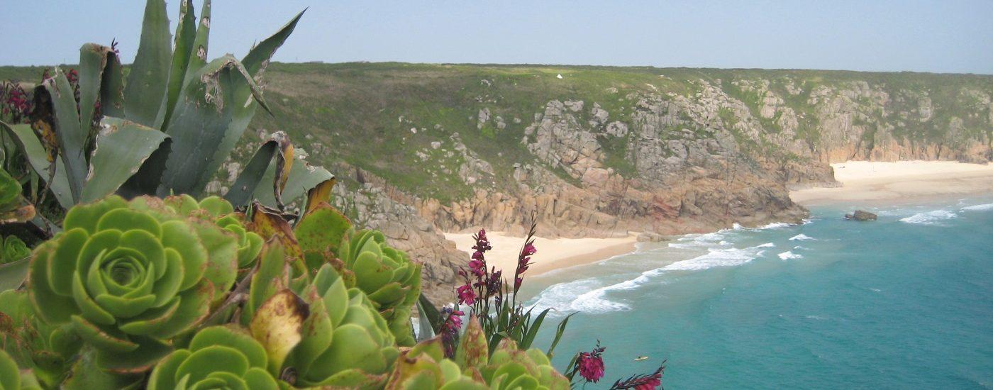 Auf dem Foto sieht man türkisblaues Meer, subtropische Pflanzen und eine Steilküste im Minack Theater England
