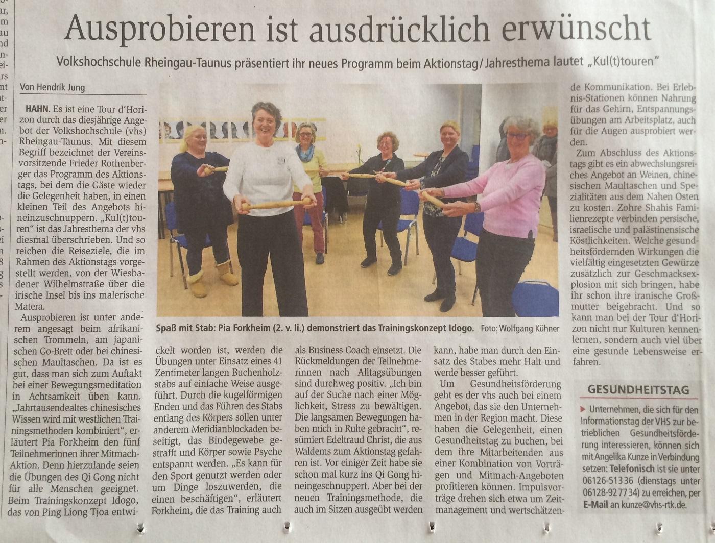 Auf dem Foto ist eine IDOGO Sportgruppe zu sehen beim Aktionstag der VHS, Rheingau-Taunus-Kreis, CR: Wiesbadener Kurier, 4.2.2019