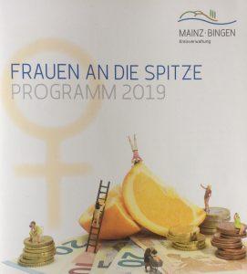 Broschüre Cover Frauen an die Spitze, Kreisverwaltung Mainz Bingen