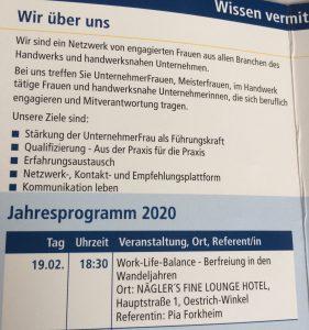 Flyer Unternehmerfrauen im Handwerk Referentin Pia Forkheim 19.2.2020