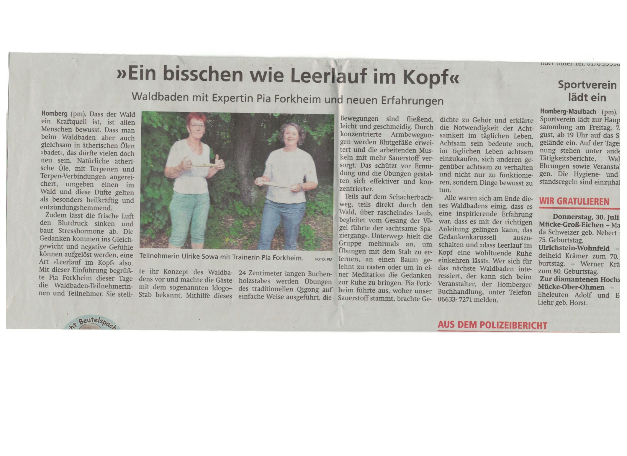 Zeitungsartikel der Alsfelder Allgemeinen Zeitung zum Thema Waldbaden, Leerlauf im Kopf mit Pia Forkheim