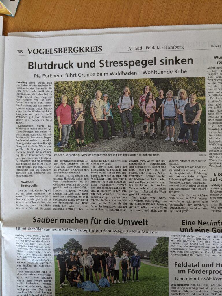 Waldbaden in Homberg Ohm mit der Buchhändlerin Ulrike Sowa und Trainerin Pia Forkheim